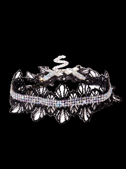 fashion Lace Crochet Rhinestone Choker Necklace - BLACK  Mobile