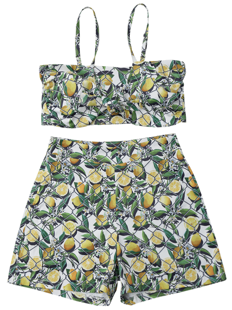 womens Net Lemon Crop Top and Shorts Set - GREEN AND YELLOW L Mobile
