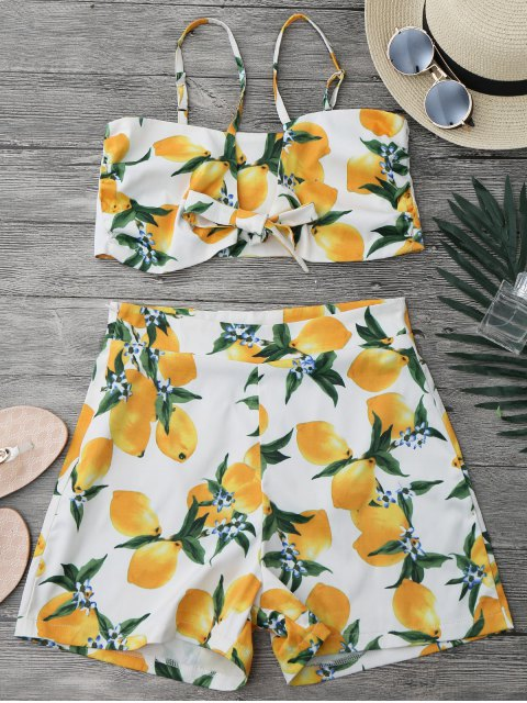 ladies Lemon Knotted Crop Top and Shorts Set - WHITE L Mobile