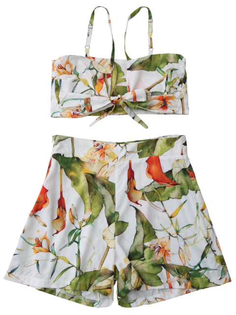 online Floral Knot Crop Top and Shorts Set - WHITE L Mobile