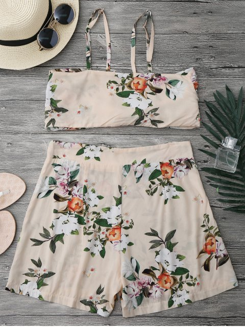 outfit Knotted Crop Top and High Waisted Shorts Set - FLORAL L Mobile