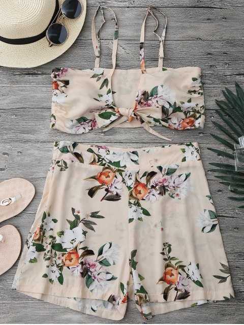 outfits Knotted Crop Top and High Waisted Shorts Set - FLORAL M Mobile