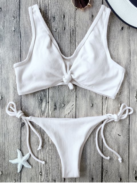 fancy Ribbed Knotted String Bralette Bikini - WHITE S Mobile