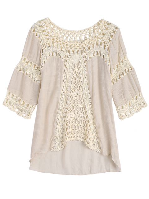 shops Crochet Insert Beach Cover Up Tunic Top - OFF-WHITE ONE SIZE Mobile