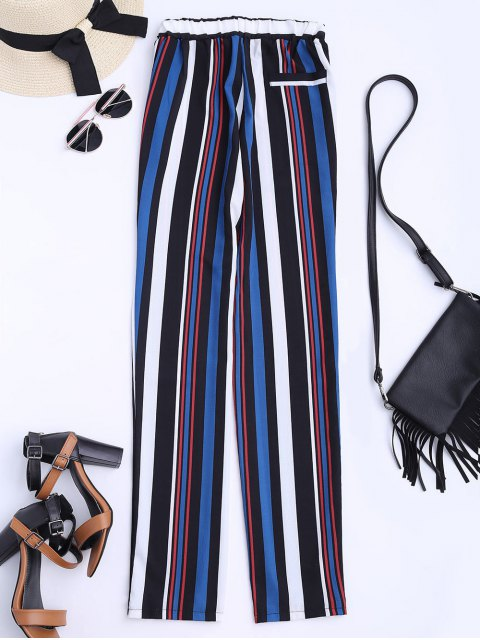 outfit Striped Straight Cut Flowy Pants - MULTICOLOR XL Mobile