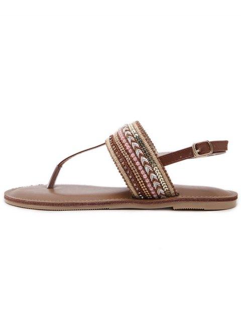 new Belt Buckle Beading Flat Heel Sandals - DEEP BROWN 37 Mobile