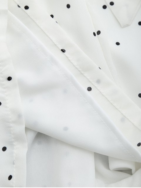 online Batwing Polka Dot Bowknot Romper - WHITE L Mobile