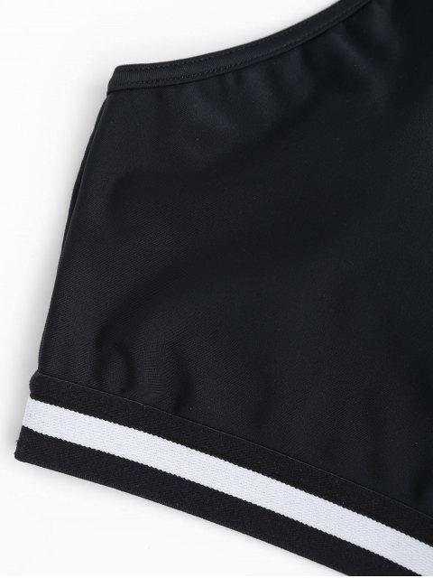 women's Cami Padded Striped Sporty Bra - BLACK L Mobile