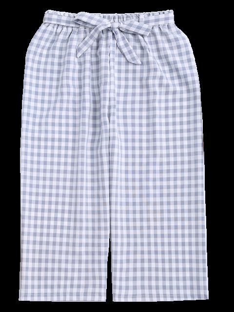 lady Gingham Wide Leg Culotte Gaucho Pants - LIGHT BLUE S Mobile