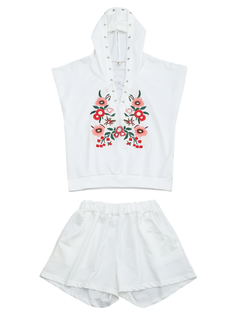 outfit Floral Patched Hooded Two Piece Suit - WHITE XL Mobile