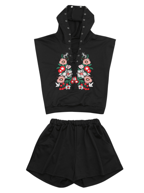 trendy Floral Patched Hooded Two Piece Suit - BLACK M Mobile