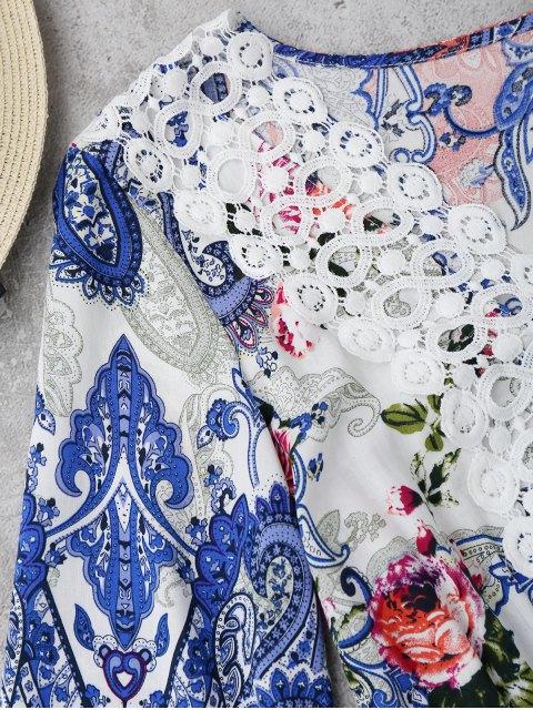 latest Crochet Insert Paisley Floral Print Mini Dress - FLORAL L Mobile
