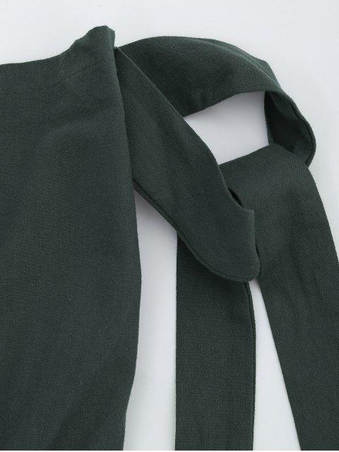 best Off The Shoulder Self Tie Sleeve Romper - DEEP GRAY S Mobile