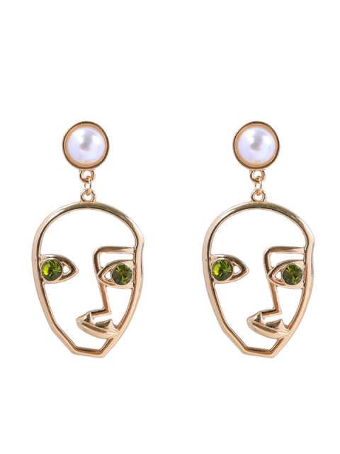 outfit Rhinestone Faux Pearl Face Earrings - GREEN  Mobile