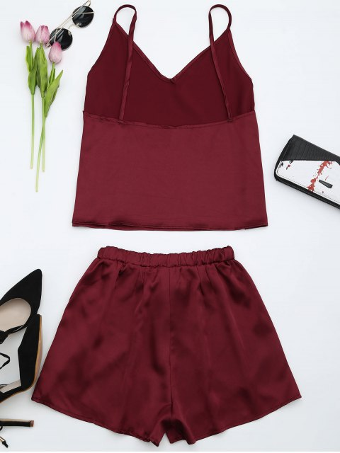 shop Cami Satin Two Piece Suits - WINE RED S Mobile