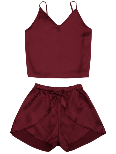 latest Cami Satin Two Piece Suits - WINE RED L Mobile