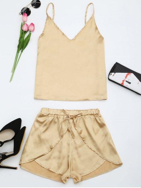 fashion Cami Satin Two Piece Suits - GOLDEN XL Mobile