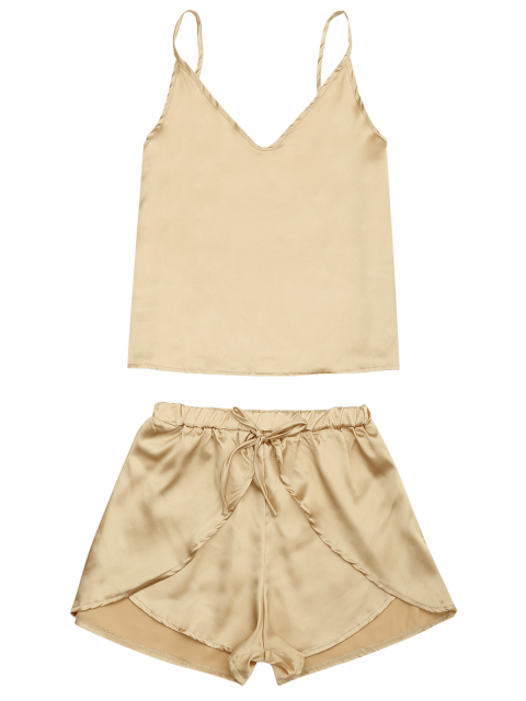 chic Cami Satin Two Piece Suits - GOLDEN L Mobile