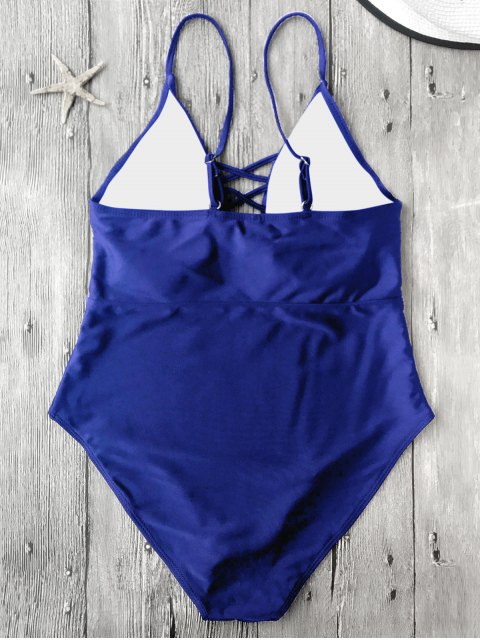 trendy Strappy Lace-Up One-Piece Swimwear - BLUE L Mobile