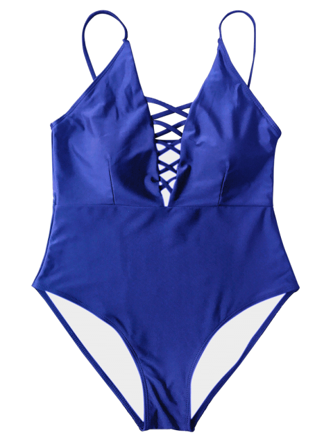 fashion Strappy Lace-Up One-Piece Swimwear - BLUE M Mobile
