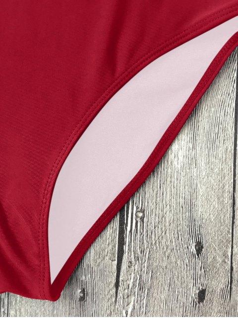 unique Strappy Lace-Up One-Piece Swimwear - RED L Mobile