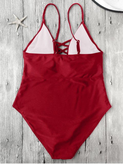 affordable Strappy Lace-Up One-Piece Swimwear - RED S Mobile