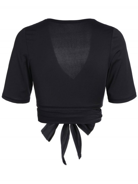 affordable Cropped Plunging Neck Sporty Wrap Top - BLACK M Mobile
