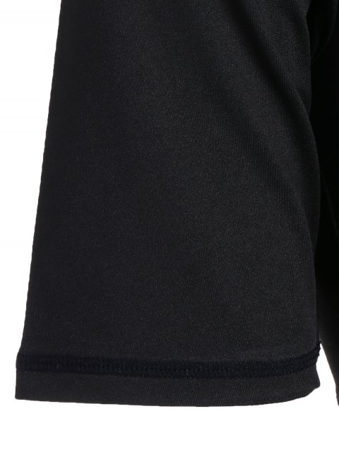 buy Cropped Plunging Neck Sporty Wrap Top - BLACK S Mobile