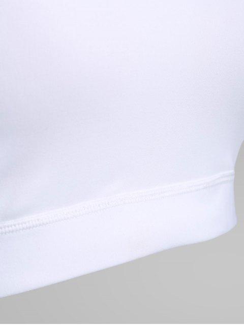 shops Mesh Panel Jewel Neck Longline Sporty Bra - WHITE L Mobile