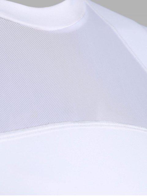 trendy Mesh Panel Jewel Neck Longline Sporty Bra - WHITE S Mobile