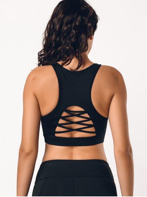 fashion Back Strappy Cutout Mesh Panel Sporty Bra - BLACK L Mobile