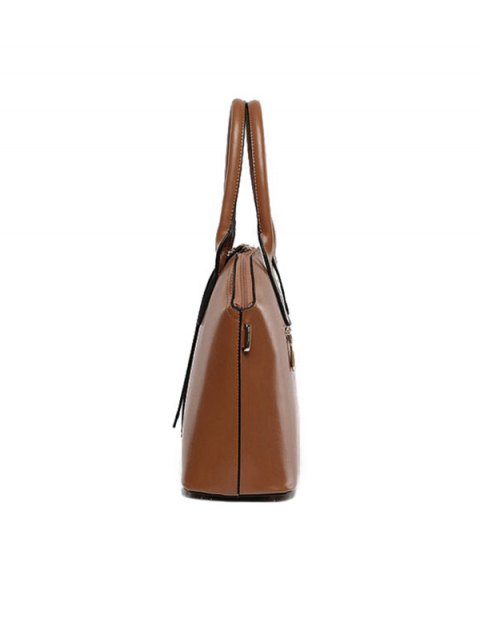 fashion Zips Solid Color PU Leather Tote Bag - WINE RED  Mobile