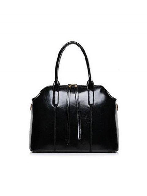 chic Zips Solid Color PU Leather Tote Bag - BLACK  Mobile