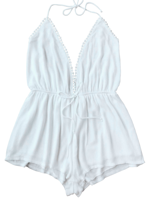 lady Plunge Halter Beach Cover Up Romper - WHITE L Mobile