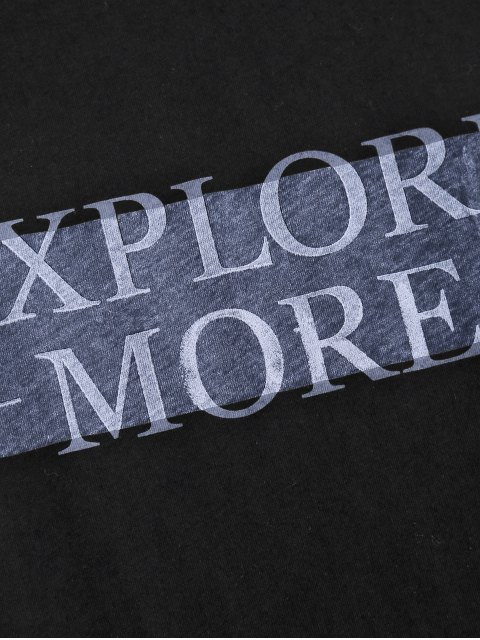 lady Dropped Armhole Explore More Sporty Top - BLACK M Mobile