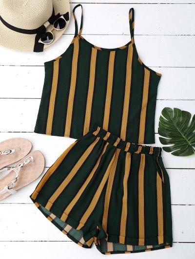 Color Block Striped Cami Top Con Pantalones Cortos - Raya
