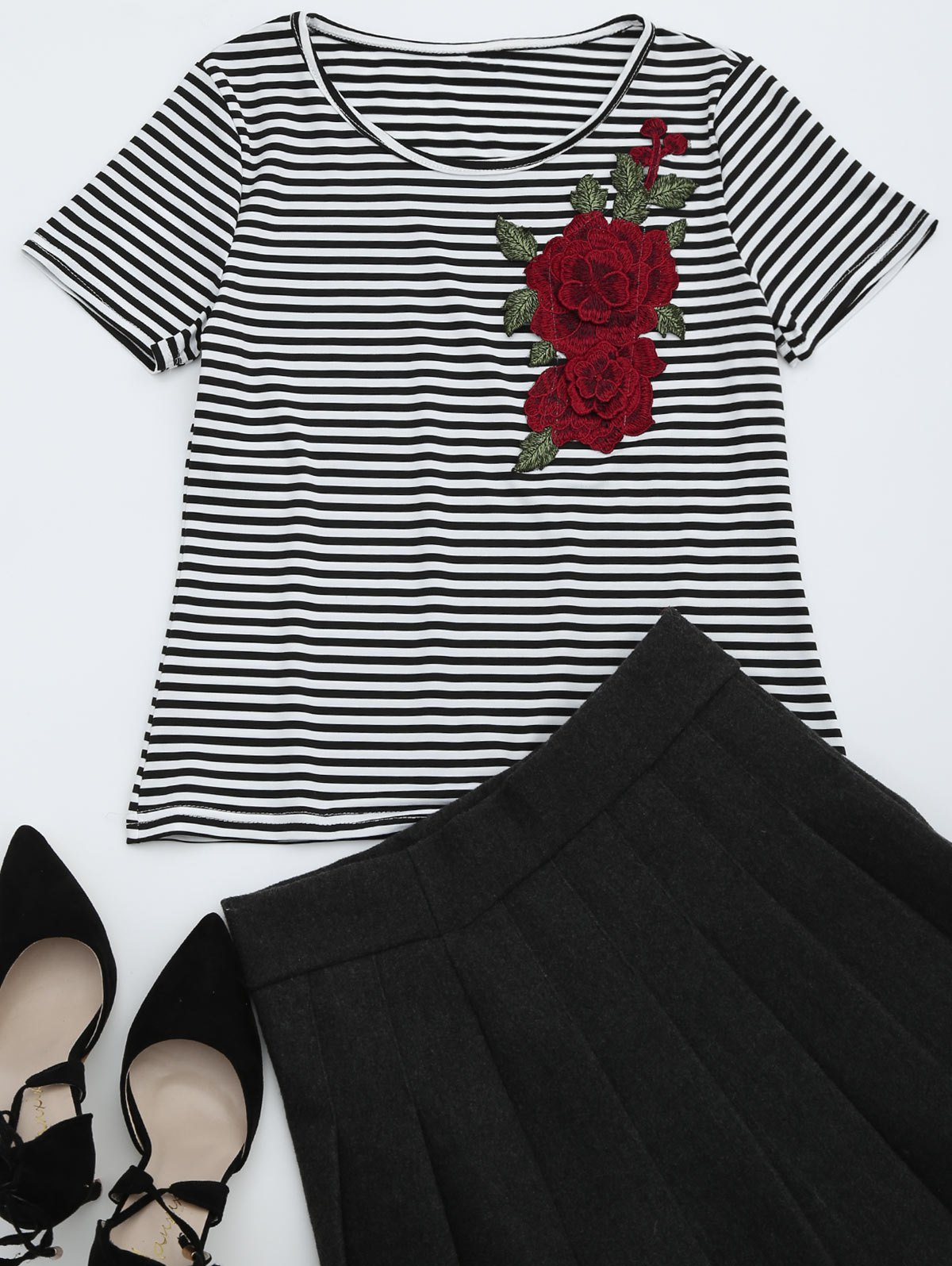 Round Collar Floral Patched Striped Tee, Stripe