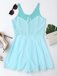 Sleeveless Cutout Lace Insert Romper