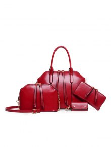 Zips Solid Color PU Leather Tote Bag - Wine Red
