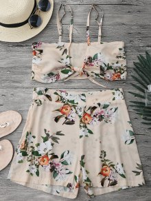 Knotted Crop Top and High Waisted Shorts Set