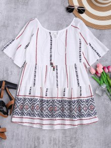 Printed Cotton Smcok Top - White