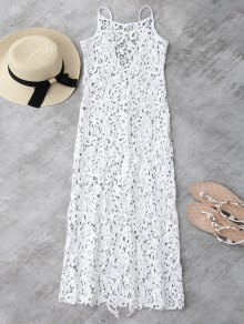 Sheer Crochet Lace Midi Slip Dress - White Xl