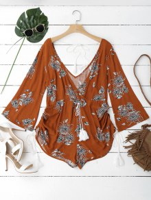 Gathered Belted Floral Surplice Romper