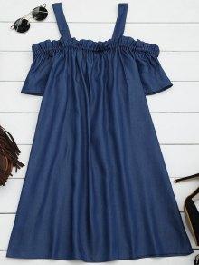 Ruffles Casual Cold Shoulder Mini Dress - Denim Blue Xl