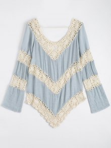 Chevron Crochet Panel Beach Cover Up Top - Light Blue