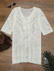 Side Split Open Knit Beach Cover Up Dress