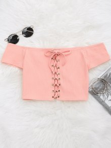 Lace Up Ribbed Off Shoulder Top