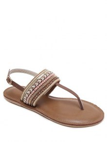 Belt Buckle Beading Flat Heel Sandals