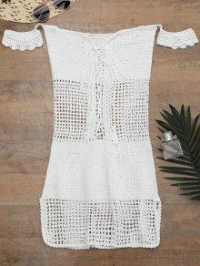 Open Knit Off Shoulder Cover Up Dress - White