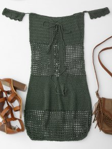 Open Knit Off Shoulder Cover Up Dress - Blackish Green